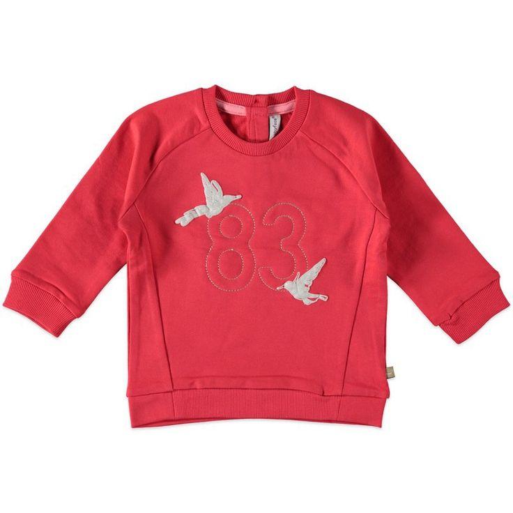 Meisjes sweatshirt van het merk Babyface. Rood - roze sweatshirt met een tekening van 2 vogels en het cijfer 83. Voorzien van knoopjes op de rug, ronde hals en lange mouwen.