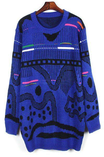 Loose Fitting Round Collar Jacquard Sweater