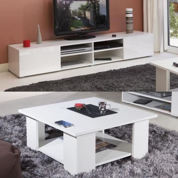 Lime Salon Complet Coloris Blanc Brillant 2 Pieces 1 Meuble Tv 185cm 1 Table Basse Carree 2020