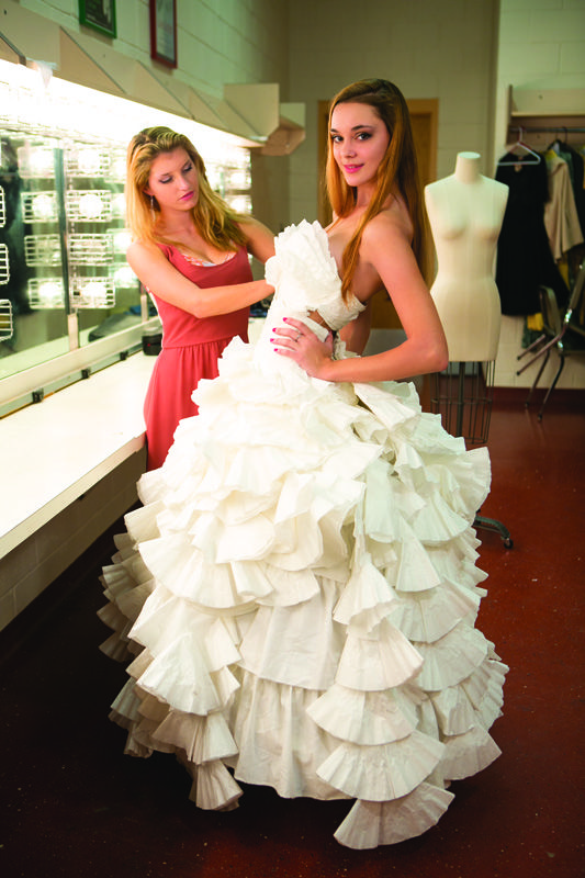 Unconventional wedding dress made from coffee filters ...