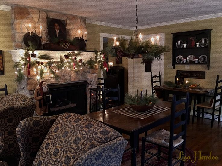 Primitive Colonial Fireplace Mantel In Keeping Room Lisa