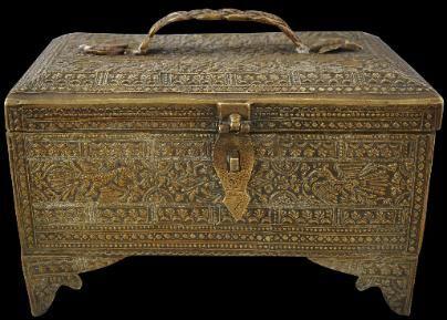 Brass Malay/Minangkabau Cash Box, Minangkabau people, Sumatra, Indonesia 19th century - Michael Backman Ltd - Islamic Art of Southeast Asia