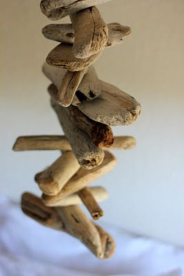 Driftwood Mobile tutorial...thinking could adapt this in different ways, driftwood windchimes, add shells, etc.  FUN for the beach collections this summer!
