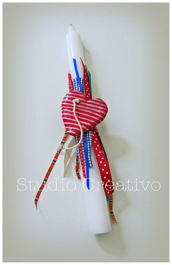Easter Candle Hearts & Ribbons II - λαμπαδα με χειροποίητη κεραμική καρδιά και κορδέλες