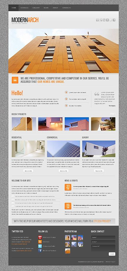 Get this modern  #architectural Web Design Template Customized!