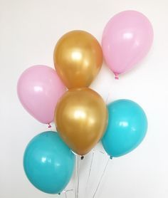 Blue Pink Gold Balloons Gender Reveal Balloons Gender Reveal Party Pink Blue Pink Balloons Blue Balloons Gold Balloons Flamingo Pool Party by OhhHowCharming on Etsy https://www.etsy.com/listing/272079834/blue-pink-gold-balloons-gender-reveal