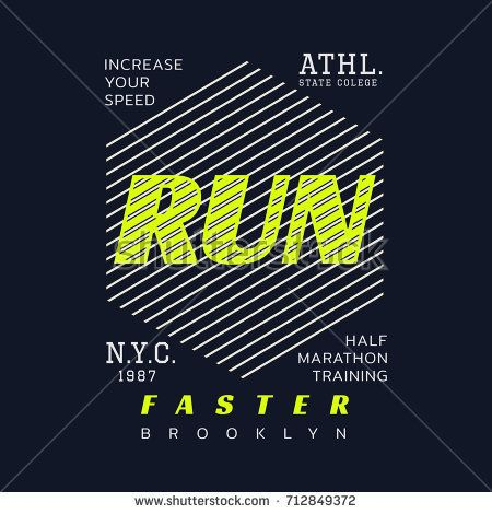 Vector illustration on a theme of marathon and running in New York City, Brooklyn. Sport typography, t-shirt graphics, poster, print, run, banner, flyer, postcard