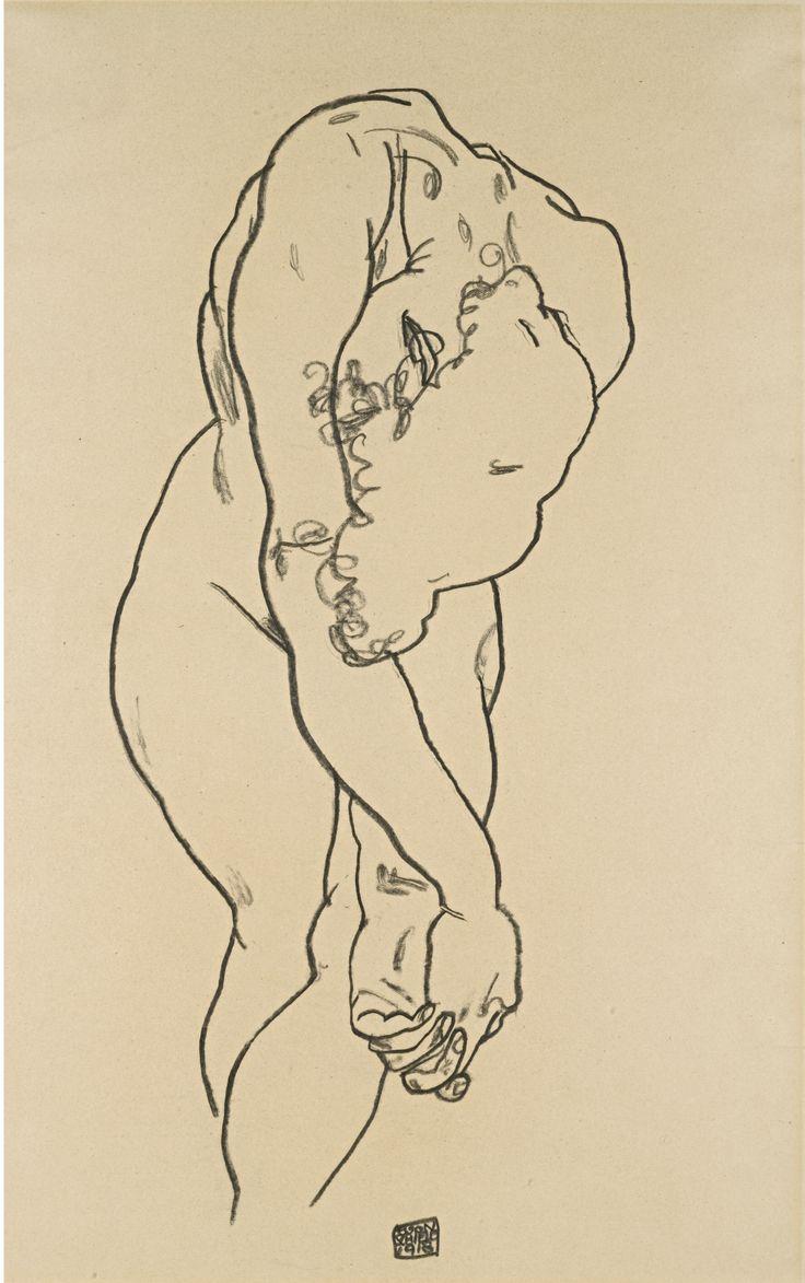 File:Egon Schiele - Kauernder Akt mit herabgebeugtem Kopf....jpg - Wikimedia Commons