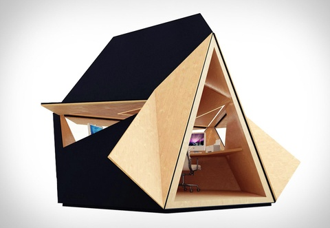Tetra-Shed designed by Innovation Imperative | Read more: http://www.dwell.com/articles/Office-Shed-in-Miniature.html