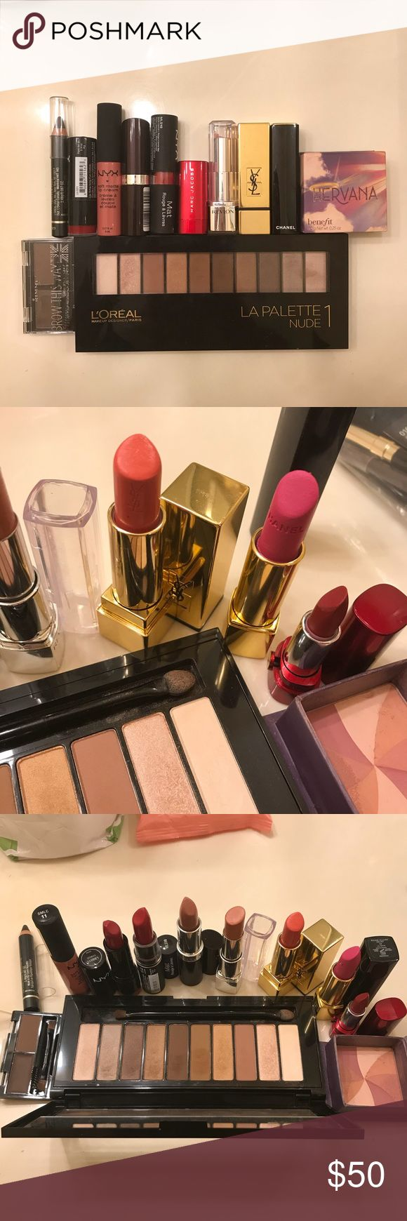 A Bag of makeup products YSL Rouge Lipstick- 36 Chanel Rouge Allure Velvet lipstick- 44 La Diva Marc Jacobs lipstick- 240 so Rouge L'Oreal La Palette - nude1 RIMMEL eyebrow kit - 002 Medium Brown L'Oreal eyeliner - Grey / Gris Benifit Blush - Hervana NYX soft matte lip cream - SMLc11 NYX lipstick - LSS511 Chaos NYX Matte lipstick - MLS10 Perfect Red Rimmel lipstick - 070 Airy Fairy Revlon lipstick - 865 hd magnolia Makeup #redlipstick