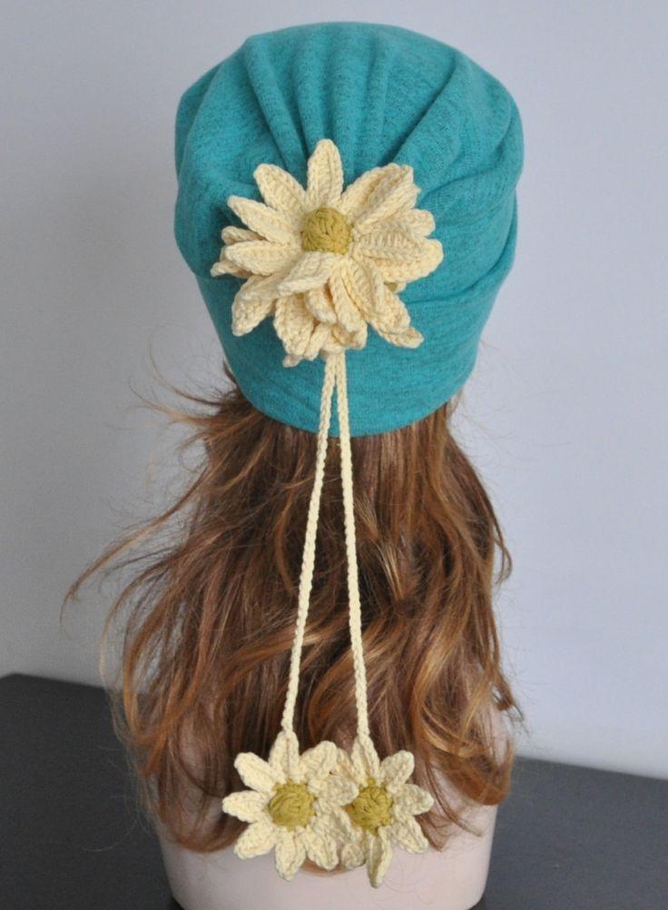 FLORAL HAT 1 - Mint - Crochet Flower Jersey Beanie/Hat by jennysunny on Etsy