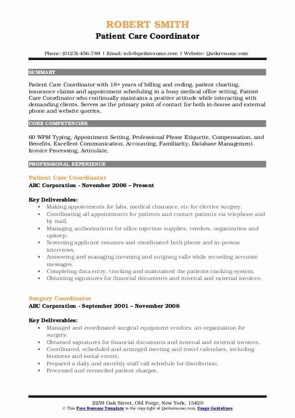 Patient Care Coordinator Job Description Resume Elegant Patient Care Coordinator Resume Samples In 2020 Job Resume Samples Job Description Engineering Resume