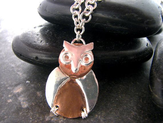 Silver and Copper Owl Pendant with two chain by melmacdesigns, $59.00