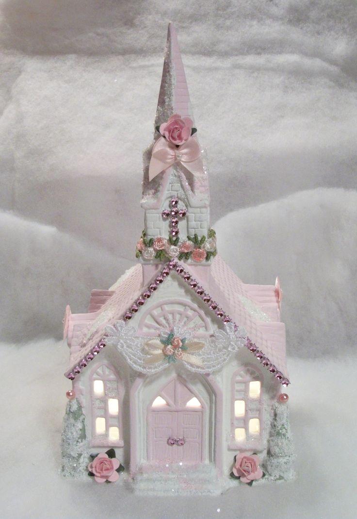 Shabby Chic lighted Christmas Village Church