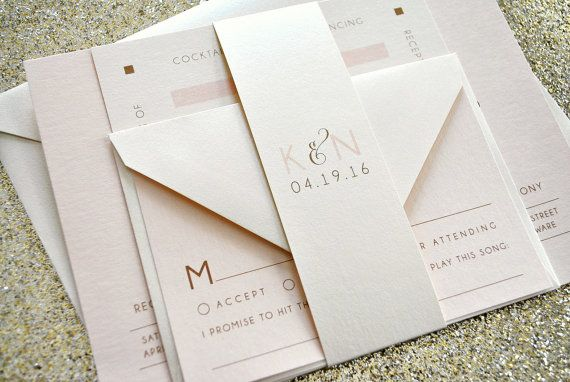 Nora Wedding Invitation Suite with Belly Band - Ivory, Champagne Gold and Blush Pink, Customizable