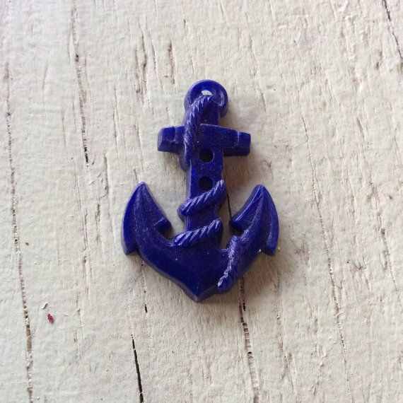 1 Blue Plastic Anchor Button 30mm X 20mm 1 1/4 X 3/4  Ships as is, unpolished, uncleaned Ships next business day 1st class USPS mail