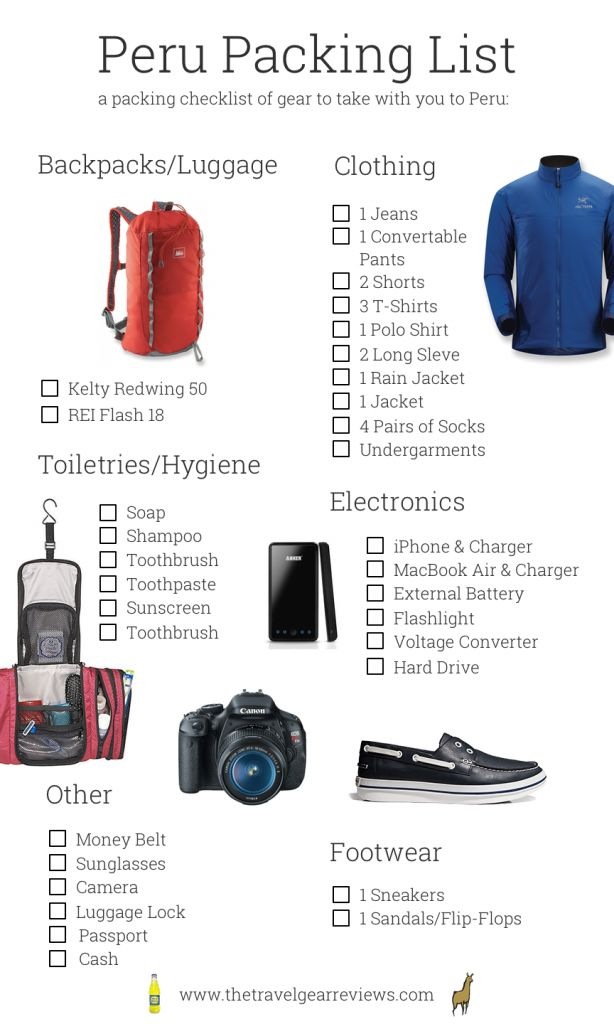 Peru packing checklist click here to see the full list... http://www.thetravelgearreviews.com/peru-packing-list #travel #peru