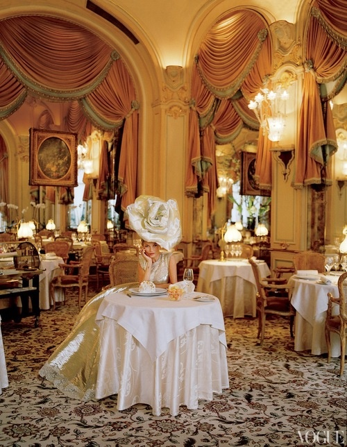 Kate Moss For Vogue US ; At the Ritz's restaurant