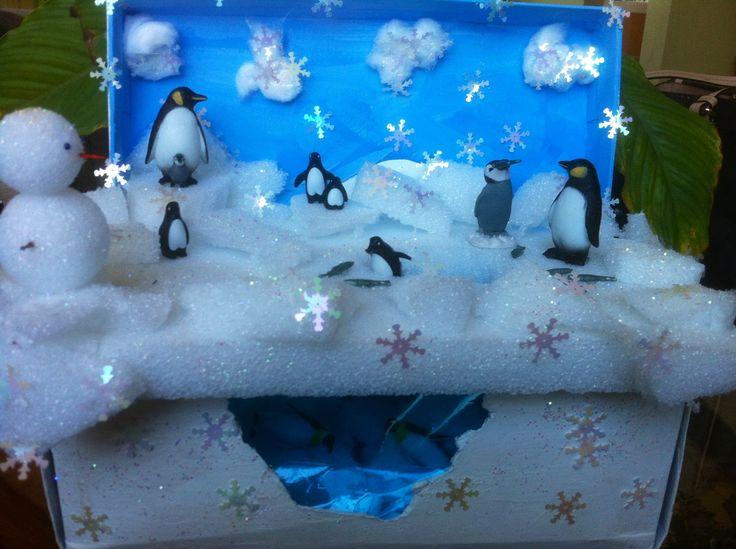 Penguin Habitat classroom shoe box projects