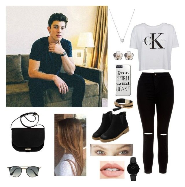 """Shawn Mendes// Outifts- @Abigailmelean"" by abigail-melean-ferrer on Polyvore featuring New Look, Calvin Klein, Jouer, Ray-Ban, Links of London, Simons and CLUSE"
