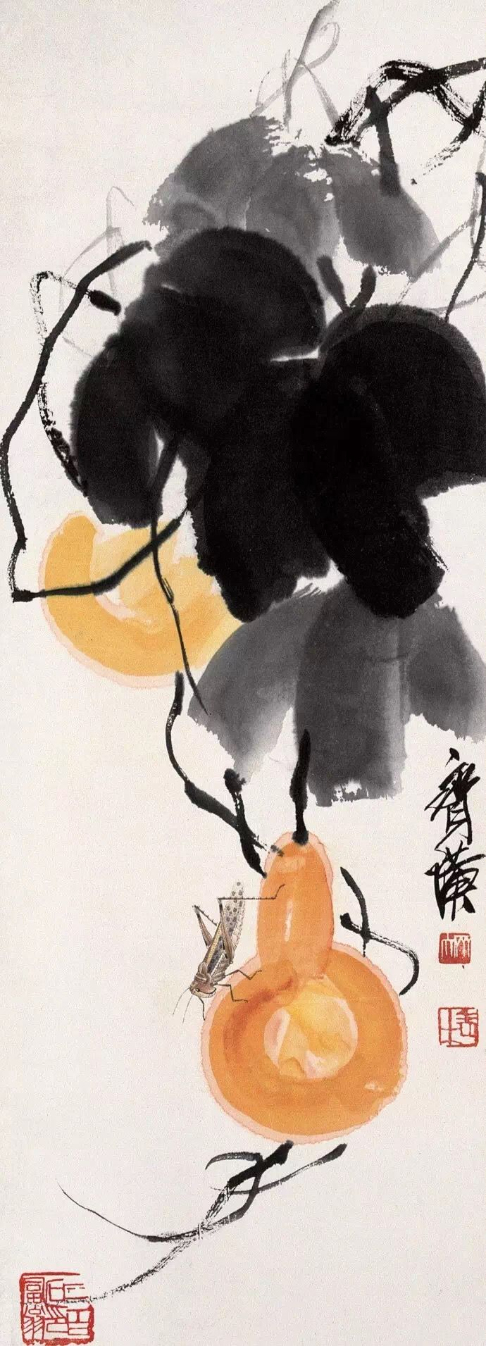 Watercolor art history brush - Qi Bai Shi Chinese Brush Painting Insect Vegetable