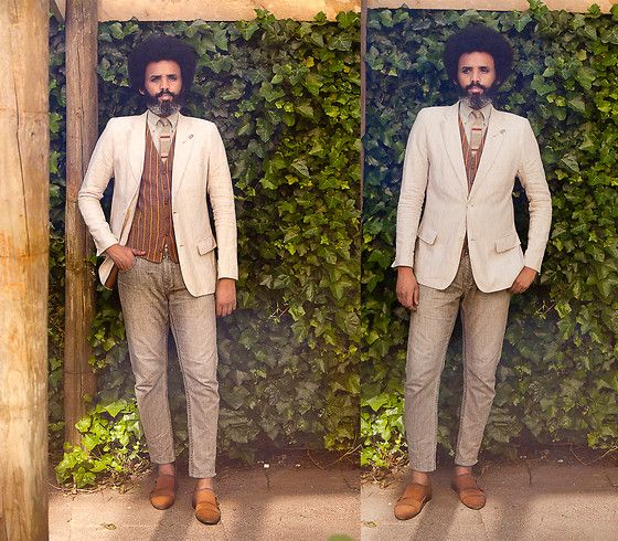 Dualleh Abdulrahman - Canvas Diy Linnen Blazer, Marlboro Classic Diy Grey Jeans, Canvas Tweed Diy Waistcoat, No Brand Knitted Grey Silk Tie, Zara Suede Double Monks - Summer ready