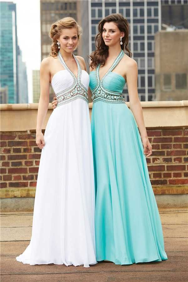 Madison James 15-103 Crystal Beaded Halter Long Prom Dresses Discount
