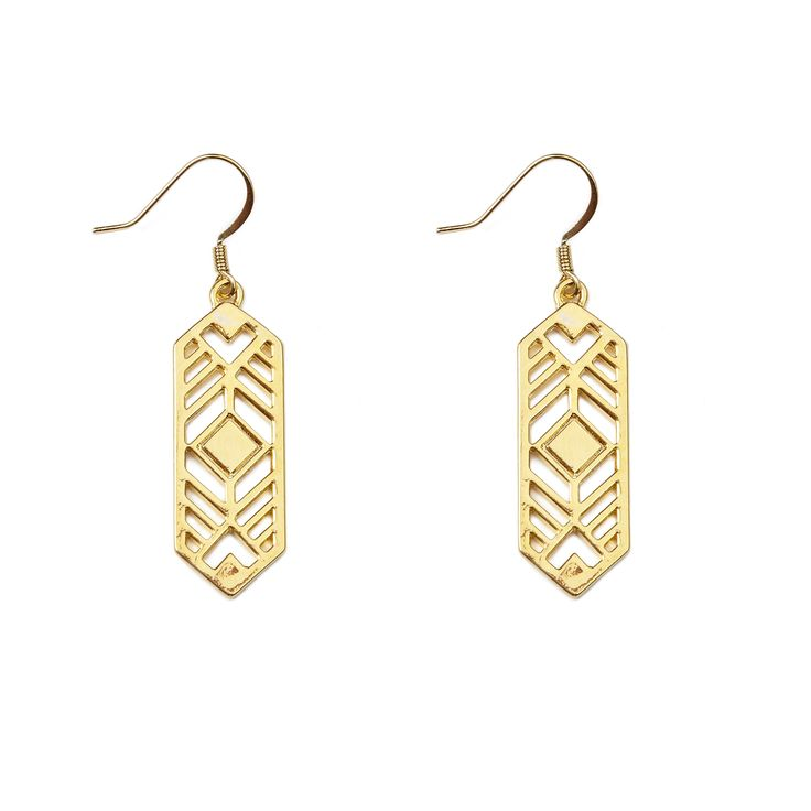 """Aspen earrings - available in gold and silver. Get 25% off these earrings with code """"foxypin"""" www.foxyoriginals... Tags: gold jewelry, imaginary voyage, gold, earrings"""