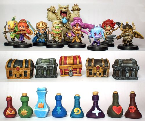 Super Dungeon Explore Painted PC minis, chests, and sculpey potions... Gotta do potions...