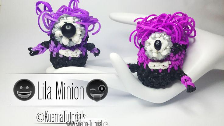 Rainbow Loom Lila  Minion Anhänger/Keychains Step by Step Tutorial