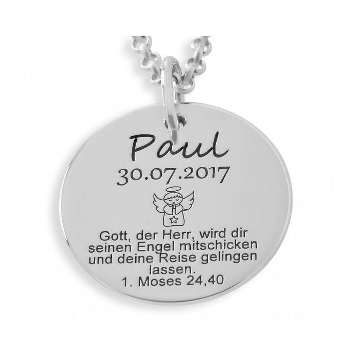 Wunderschöne Taufkette aus 925 Sterling Silber  mit ihrem Wunschnamen bzw. Wunschtext. Eine schöne Geschenkidee zur Taufe, Geburt oder anderen Anlässen.