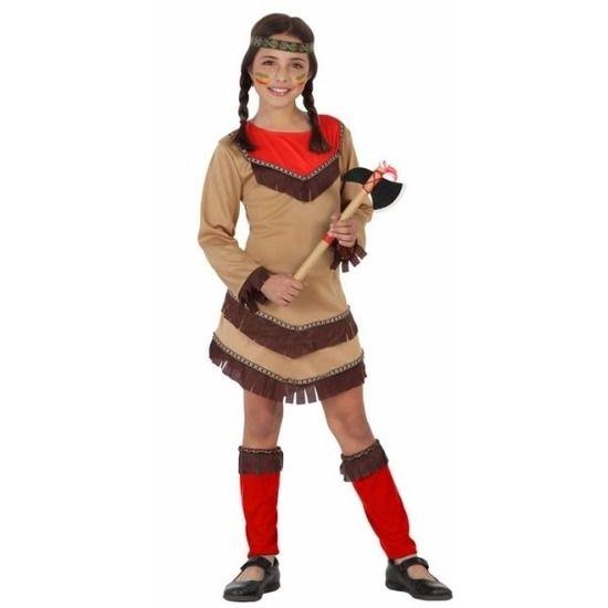 Indiaan Chinouk kostuum voor meisjes rood. Compleet indianen verkleedkostuum bestaande uit: een bruin jurkje met franjes, rode beenwarmers en een hoofdband. Alle onderdelen zijn gemaakt van stof. Materiaal: 100% polyester.