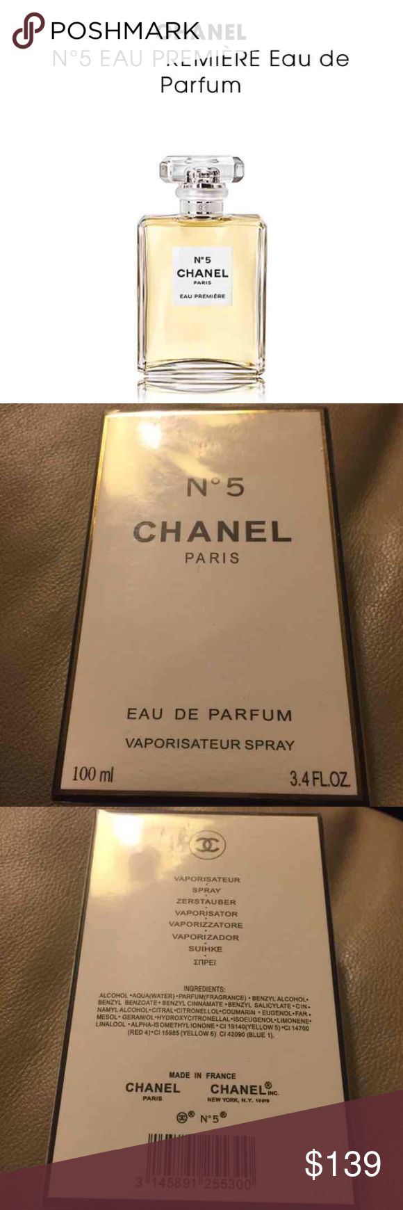 CHANEL N°5 EAU PREMIÈRE Eau de Parfum!! Brand NEW CHANEL N°5 EAU PREMIÈRE Eau de Parfum!! Retails $132.00 3.4 oz Eau de Parfum Spray A decidedly lighter, fresher, N°5 was the world's first abstract fragrance. The Eau de Parfum draws inspiration from the Parfum with which it shares its floral aldehyde signature. This floral bouquet composed around May Rose and Jasmine features bright citrus top notes. Aldehydes create a unique presence while the smooth touch of Bourbon CHANEL Other
