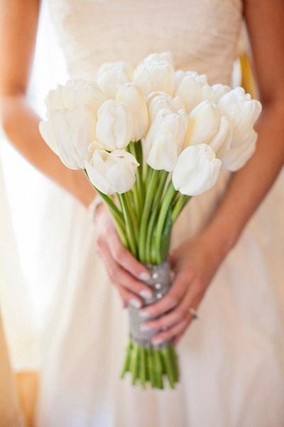 Spring wedding bouquet idea - all-white tulip bouquet {Lloyd Photographers}