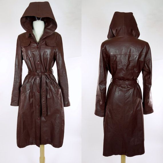 OMG I need this #vintage https://www.etsy.com/listing/260444839/1970s-hooded-leather-coat-brown-trench