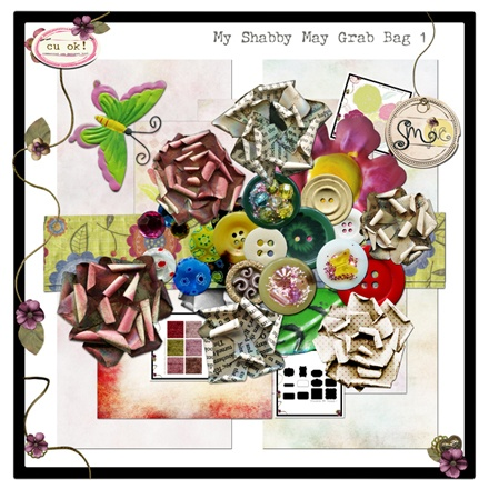 $5 for 40.00 worth of digiscrap products in the Shabby May Grab Bag 1 from SweetMadeINC.: Grab Bags, Today Grab
