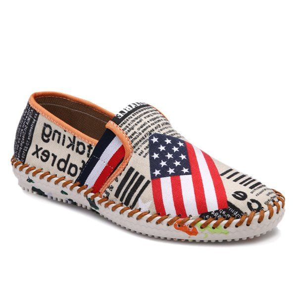 Fashionable Letter Print and American Flag Pattern Design Men's Canvas Shoes #shoes, #jewelry, #women, #men, #hats, #watches
