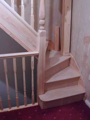 MM - Start stairs with a turn to make less steep for pip. Also can add storage drawers under