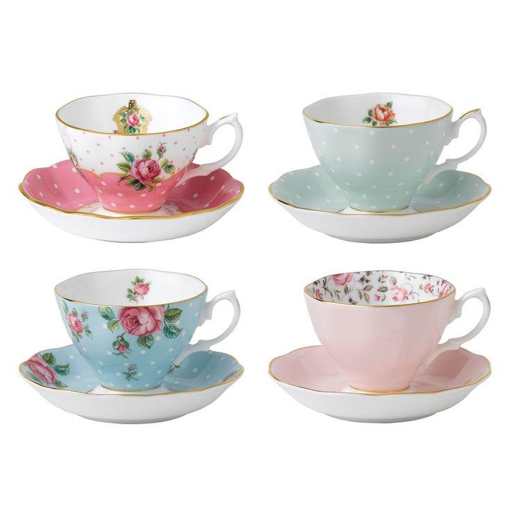 Royal Albert Tea Party Vintage Mix Set of 4 Teacups & Saucers