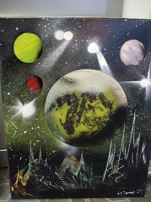 Looking out to space - spray painting