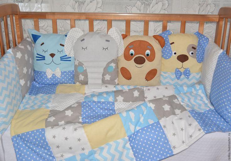 Купить Комплект в кроватку - комплект в кроватку, комплект в детскую, лоскутное одеяло, бортики в кроватку