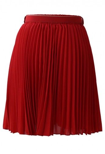 Red Pleated Chiffon Midi Skirt with Belt