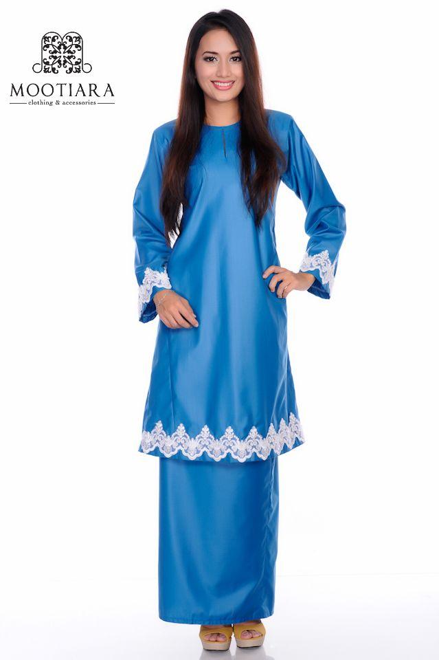 Prussian blue baju kurung pahang.