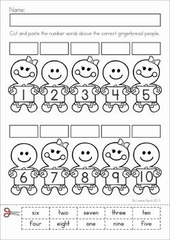 Christmas Math & Literacy Worksheets & Activities for Kindergarten. Lots of fun, interactive, no-prep pages for December. A page from the unit: Gingerbread number word cut and paste