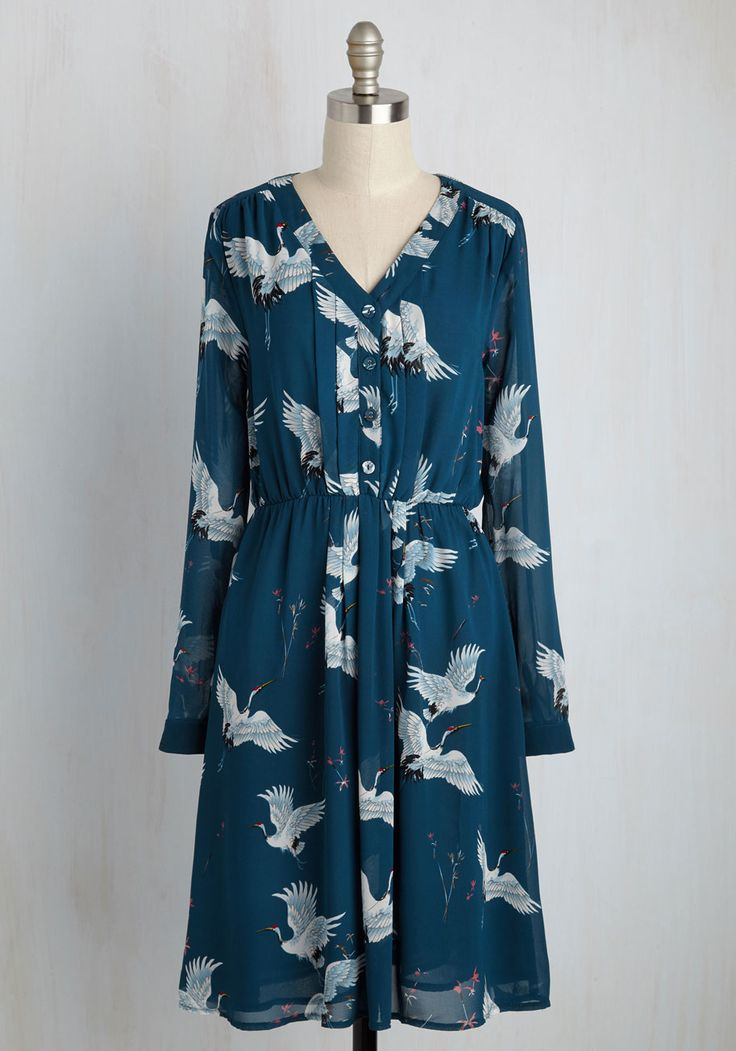 Archivist Apprentice Dress in Cranes. Arriving to your first day at the library in this blue shirt dress, you impress everyone with your polished ensemble! #blue #modcloth