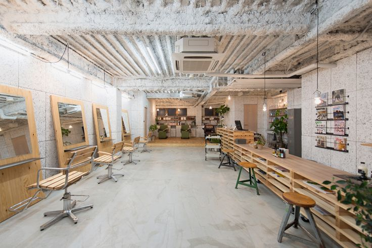 no.555 uses plywood fittings and movable furniture to renovate yokohama hair salon