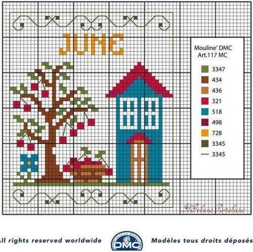 Gli schemi free DMC per il calendario perpetuo continuano con ''giugno''