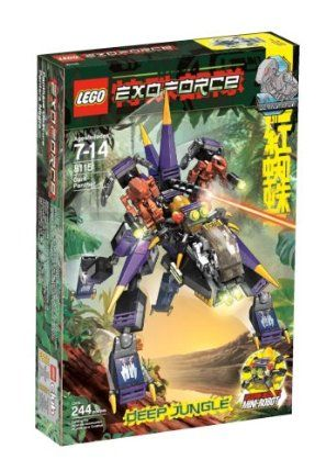 LEGO EXO-FORCE Dark Panther by LEGO. $59.63. 3 robot minifigures included. Watch out, EXO-FORCE team - the robots have a ferocious new battle machine on their side!. Features an elevating cannon, transforming mini-robot weapon and two detachable attack flyers with Iron Drone pilots. 244 pieces. Leaping from the jungle shadows, the 4-legged Dark Panther strikes without warning. From the Manufacturer                EXO-FORCE™ Dark Panther (8115) - The robots are on the pro...