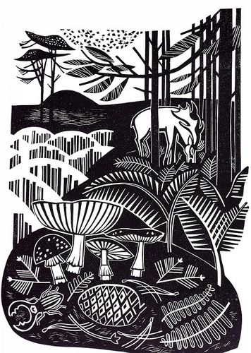 Autumn Heath, by Clare Curtis, printmaking, lino, relief, print, nature, mushroom, woodland, forest, linocut, deer, illustration