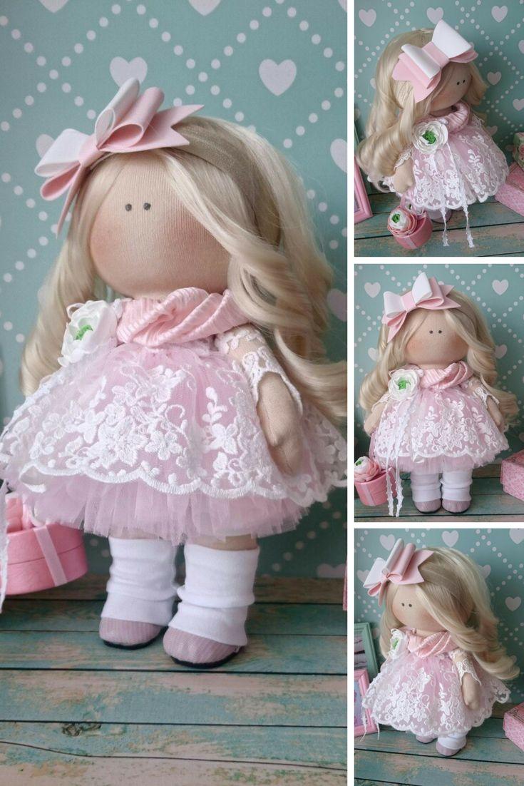 Bambole di stoffa Tilda doll Rag doll Handmade doll Nursery doll Muñecas Pink doll Cloth doll Baby doll Textile doll Fabric doll by Elvira
